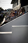 Bala Town 3 FC Differdange 4, 03/08/2015. Belle Vue, Europa League. A group of home fans watching the first-half action during the Europa League first qualifying round, second leg tie between Bala Town from Wales and FC Differdange 03 of Luxembourg. It was the Welsh club's second season of European competition, and due to ground regulations the match was played at nearby Belle Vue, home of Rhyl FC. The visitors won the tie 4-3 on aggregate due to a last-minute away goal by Omar Er Rafik, in a game watched by 1039 fans and progressed to play Turkish giants Trabzonspor in the next round. Photo by Colin McPherson.