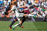 Real Madrid's Daniel Carvajal ad Eibar's Sergi Enrich durign the match of La Liga between Real Madrid and SD Eibar at Santiago Bernabeu Stadium in Madrid. October 02, 2016. (ALTERPHOTOS/Rodrigo Jimenez)