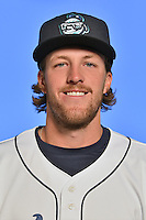 Asheville Tourists pitcher Drasen Johnson (35) poses for a photo at Story Point Media on April 5, 2016 in Asheville, North Carolina. (Tony Farlow/Four Seam Images)
