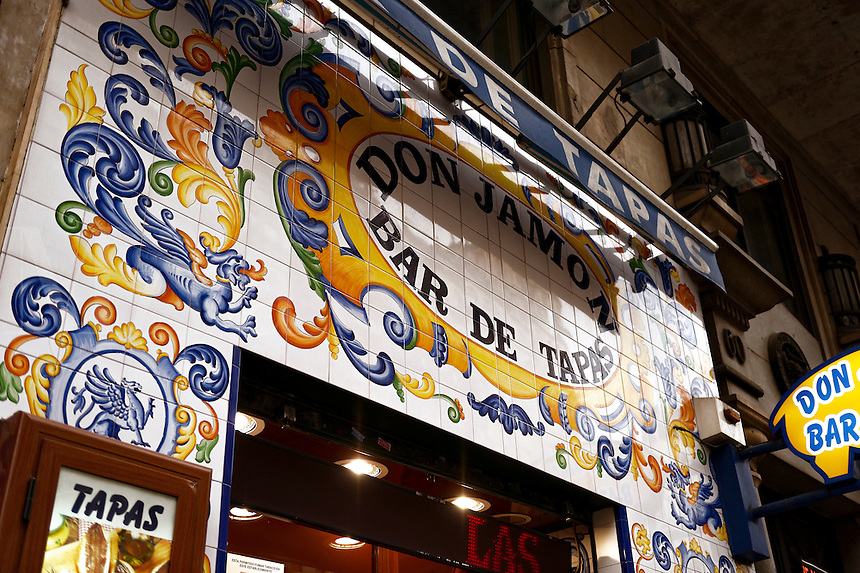 Don Jamon restaurant with ornate tiling facade and menu, Madrid, Spain