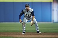 Columbia Fireflies first baseman Matt Schmidt (7) on defense against the Kannapolis Cannon Ballers at Atrium Health Ballpark on May 20, 2021 in Kannapolis, North Carolina. (Brian Westerholt/Four Seam Images)