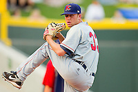 Starting pitcher Clayton Cook #33 of the Kinston Indians warms up in the bullpen prior to the game against the Winston-Salem Dash at BB&T Ballpark on June 4, 2011 in Winston-Salem, North Carolina.   Photo by Brian Westerholt / Four Seam Images