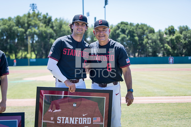 STANFORD, CA - MAY 29: Senior Zach Sehgal, David Esquer before a game between Oregon State University and Stanford Baseball at Sunken Diamond on May 29, 2021 in Stanford, California.