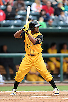 Jacksonville Suns  outfielder Alfredo Silverio (27) at bat during a game against the Pensacola Blue Wahoos on April 20, 2014 at Bragan Field in Jacksonville, Florida.  Jacksonville defeated Pensacola 5-4.  (Mike Janes/Four Seam Images)