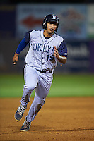 Brooklyn Cyclones outfielder Hengelbert Rojas (19) running the bases during the first game of a doubleheader against the Connecticut Tigers on September 2, 2015 at Senator Thomas J. Dodd Memorial Stadium in Norwich, Connecticut.  Brooklyn defeated Connecticut 7-1.  (Mike Janes/Four Seam Images)