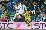 Gareth Bale (L) of Real Madrid competes for the ball with Mario Gaspar Perez Martínez of Villarreal CF during the La Liga 2017-18 match between Real Madrid and Villarreal CF at Santiago Bernabeu Stadium on January 13 2018 in Madrid, Spain. Photo by Diego Gonzalez / Power Sport Images
