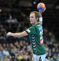 Handball 2. Bundesliga Herren - SC DHfK gegen HC Erlangen am 05.11.2013 in Leipzig (Sachsen). <br /> IM BILD: Pavel Prokopec (DHfK) beim Siebenmeter <br /> Foto: Christian Nitsche