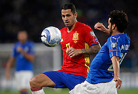 Spain Vitolo, left, is challenged by Italy Marco Parolo during the Fifa World Cup 2018 qualification soccer match between Italy and Spain at Turin's Juventus Stadium, October 6, 2016. The game ended 1-1.<br /> UPDATE IMAGES PRESS/Isabella Bonotto