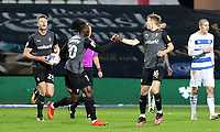 second goal scored for Rotherham United as both Jamie Lindsay of Rotherham United and Freddie Ladapo of Rotherham United celebrate during Queens Park Rangers vs Rotherham United, Sky Bet EFL Championship Football at The Kiyan Prince Foundation Stadium on 24th November 2020