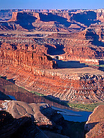 The Island in the Sky District of Canyonlands National Park in Utah rises two thousand feet above the Colorado River in this view from Dead Horse Point