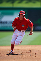 Clearwater Threshers second baseman Scott Kingery (31) running the bases during a game against the Charlotte Stone Crabs on April 13, 2016 at Bright House Field in Clearwater, Florida.  Charlotte defeated Clearwater 1-0.  (Mike Janes/Four Seam Images)