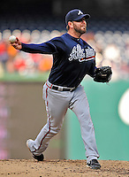 2 April 2011: Atlanta Braves pitcher Peter Moylan on the mound against the Washington Nationals at Nationals Park in Washington, District of Columbia. The Nationals defeated the Braves 6-3 in the second game of their season opening series. Mandatory Credit: Ed Wolfstein Photo