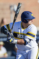 Michigan Wolverines catcher Harrison Wenson (7) at bat against the Central Michigan Chippewas on March 29, 2016 at Ray Fisher Stadium in Ann Arbor, Michigan. Michigan defeated Central Michigan 9-7. (Andrew Woolley/Four Seam Images)