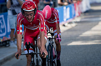 Mikkel Bjerg (DEN/UAE-Emirates) finishing<br /> <br /> Mixed Relay TTT <br /> Team Time Trial from Knokke-Heist to Bruges (44.5km)<br /> <br /> UCI Road World Championships - Flanders Belgium 2021<br /> <br /> ©kramon