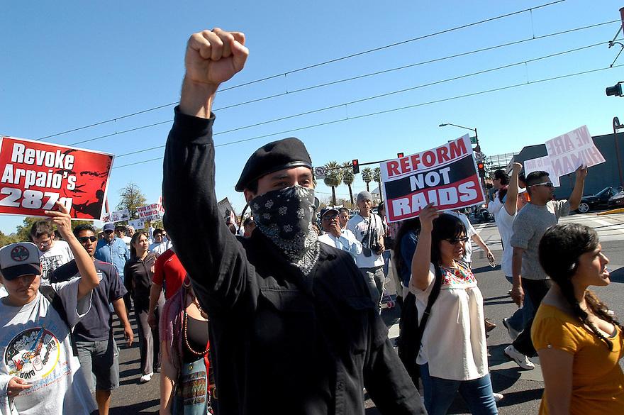 AJ ALEXANDER/AJA 22809 - Stop Sheriff Joe Araio Protest March on Central and on 287g law in Arizona. Phoenix, Arizona<br /> Photo by AJ ALEXANDER (c)