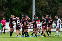 Jarrod Sammut of London Broncos celebrates his try during the Betfred Championship match between London Broncos and Newcastle Thunder at The Rock, Rosslyn Park, London, England on 9 May 2021. Photo by Liam McAvoy.