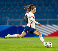 LE HAVRE, FRANCE - APRIL 13: Kelley O'Hara #5 of the USWNT passes the ball during a game between France and USWNT at Stade Oceane on April 13, 2021 in Le Havre, France.