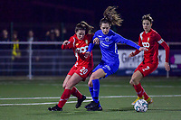Gwen Duijsters (13) of KRC Genk and Constance Brackman (20) of Standard pictured during a female soccer game between  Racing Genk Ladies and Standard Femina on the 13 th matchday of the 2020 - 2021 season of Belgian Scooore Womens Super League , friday 5 th of february 2021  in Genk , Belgium . PHOTO SPORTPIX.BE | SPP | STIJN AUDOOREN