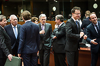 (L-R) Johannes Hahn , EU commissioner for Neighbourhood policy and enlargement, Spanish Foreign Minister, Jose Manuel Garcia-Margallo, Austrian Foreign Minister Sebastian Kurz, Foreign Relations Minister of Belgium, Didier Reynders, Slovenian Foreign Minister Karl Erjavec, Hungarian Foreign MinisterPeter Szijjarto and Denmark's Foreign Affairs Minister Martin Lidegaard  prior to the European Union Foreign Ministers Council at EU headquarters  in Brussels, Belgium on 29.01.2015 Federica Mogherini , EU High representative for foreign policy called extraordinary meeting on the situation in Ukraine after the attack on Marioupol.  by Wiktor Dabkowski