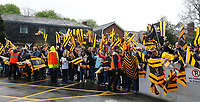 Photo: Richard Lane/Richard Lane Photography. Leinster Rugby v Wasps.  European Rugby Champions Cup Quarter Final. 01/04/2017. Wasps supporters welcome the team.