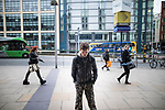© Joel Goodman - 07973 332324 . 06/04/2017 . Manchester , UK . A man standing in a catatonic-like state on Station Approach in Piccadilly . An epidemic of abuse of the drug spice by some of Manchester's homeless population , in plain sight , is causing users to experience psychosis and a zombie-like state and is daily being witnessed in the Piccadilly Gardens area of Manchester , drawing large resource from paramedic services in the city centre . Photo credit : Joel Goodman
