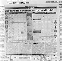 Pix: Barry Wilkinson/SWpix.com. The Yorkshire Ripper Archive. 14th May 1979 - 11th May1980...COPYRIGHT PICTURE>>SIMON WILKINSON>>0870 092 0092>>..'Insight Chart' of the Rippers Crimes..