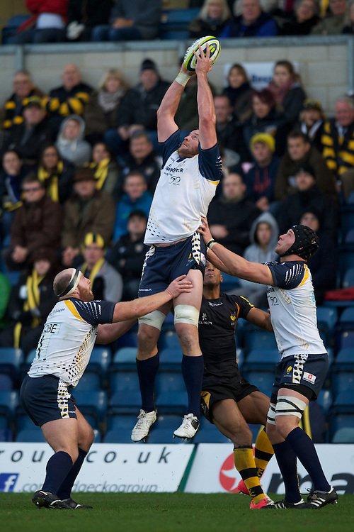 Dean Schofield of Worcester Warriors secures the re-start ball during the LV= Cup second round match between London Wasps and Worcester Warriors at Adams Park on Sunday 18th November 2012 (Photo by Rob Munro)