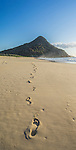Foot steps in the sand. Zenith Beach, Shoal Bay, Port Stephens, NSW, Australia