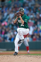 Charlotte 49ers relief pitcher Philip Perry (34) in action against the warms up in the outfield prior to the game against the at BB&T Ballpark on March 29, 2016 in Charlotte, North Carolina. The Wolfpack defeated the 49ers 7-1.  (Brian Westerholt/Four Seam Images)