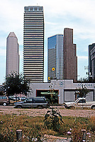 Houston:  Houston Skyline 1996. Corner of Bell and Caroline Sts. Looking west from east side of Downtown.