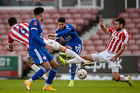 9th January 2021; Bet365 Stadium, Stoke, Staffordshire, England; English FA Cup Football, Carabao Cup, Stoke City versus Leicester City; Ayoze Perez of Leicester City takes a shot on goal