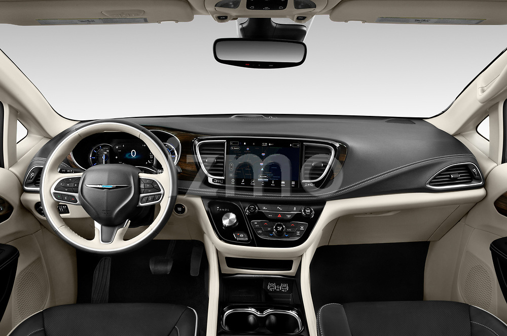 Stock photo of straight dashboard view of 2021 Chrysler Pacifica-Hybrid LIMITED 5 Door Minivan Dashboard