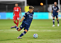 LAKE BUENA VISTA, FL - JULY 26: Jesús Medina of New York City FC dribbles the ball during a game between New York City FC and Toronto FC at ESPN Wide World of Sports on July 26, 2020 in Lake Buena Vista, Florida.