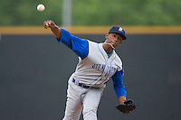 Relief pitcher Juan Abreu #47 of the Wilmington Blue Rocks in action versus the Winston-Salem Dash at Wake Forest Baseball Stadium June 14, 2009 in Winston-Salem, North Carolina. (Photo by Brian Westerholt / Four Seam Images)