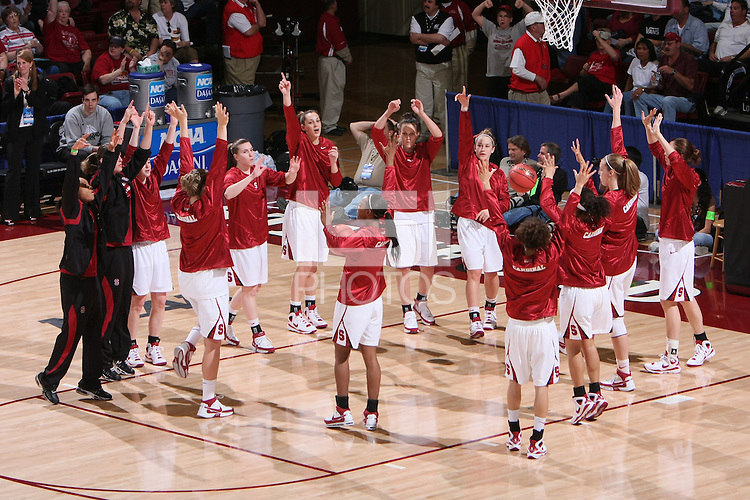 22 March 2008: (Not in order) Melanie Murphy, Rosalyn Gold-Onwude, JJ Hones, Candice Wiggins, Hannah Donaghe, Jillian Harmon, Cissy Pierce, Jeanette Pohlen, Michelle Harrison, Morgan Clyburn, Ashley Cimino, Jayne Appel and Kayla Pedersen during Stanford's 85-47 win over Cleveland State during the first round of the NCAA Women's Basketball first round game at Maples Pavilion in Stanford, CA.