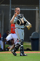 GCL Pirates catcher Reese McGuire (7) during a game against the GCL Astros on July 16, 2013 at Osceola County Complex in Kissimmee, Florida.  GCL Pirates defeated the GCL Astros 6-3.  (Mike Janes/Four Seam Images)