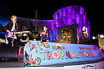(L to R) Members of the Swedish boy band ''JTR'' John Andreasson, Tom Lundback and Robin Lundback perform as a part of the Special Summer Live 2015 events in IKSPIARI shopping mall at Tokyo Disney Resort on August 25, Tokyo, Japan. JTR have been in Japan since August 19th promoting their new album ''Oh My My'' which goes on sale from August 26. (Photo by Rodrigo Reyes Marin/AFLO)