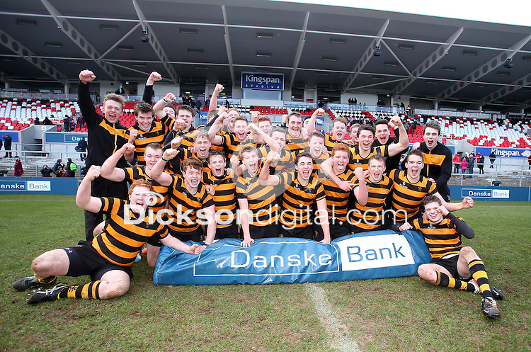 CAI vs RBAI   Tuesday 3rd March 2015<br /> <br /> RBAI celebrate after the 2015 Ulster Schools Cup Semi-Final between Coleraine Inst and RBAI at the Kingspan Stadium, Ravenhill Park, Belfast, Northern Ireland.<br /> <br /> Picture credit: John Dickson / DICKSONDIGITAL