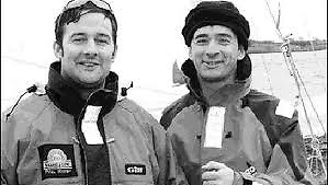 Young tearaways – Aodhan FitzGerald and Yannick Lemonnier, kitted out in 2004 to race the Figaro 2 Do Dingle in the Round Ireland in the Race's first staging with a two-handed division, in which they set a record time that still stands.