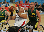Richard Peter (7) of Winnipeg is defended by Brad Ness of Australia in the gold medal game in men's wheelchair basketball action in Beijing during the Paralympic Games, Tuesday, Sept., 16, 2008.    Photo by Mike Ridewood/CPC