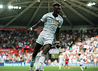 Tammy Abraham of Swansea City celebrates his equaliser during the Premier League match between Swansea City and Watford at The Liberty Stadium, Swansea, Wales, UK. Saturday 23 September 2017