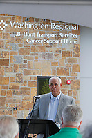 Guest and staff participated Thursday, July 15, 2021, in a formal dedication ceremony and ribbon cutting at the new Washington Regional J.B. Hunt Transport Services Cancer Support Home in Fayetteville. The 9,980-square-foot facility, located at 488 E. Longview Street, will provide hope and comfort for those with cancer with overnight lodging with eight accessible guest suites, an expanded wig and prosthesis boutique and support services, all offered at no charge. The new Cancer Support Home was made possible by gifts from many donors, including a $1.5 million gift from J.B. Hunt Transport Services. Check out nwaonline.com/210716Daily/ and nwadg.com/photos for a photo gallery.<br /> (NWA Democrat-Gazette/David Gottschalk)<br /> <br /> WC FEA CANCER 7-16