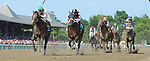 Palace (no. 1), ridden by Cornelio Velasquez and trained by Linda Rice, wins the the 30th running of the grade 1 Alfred G. Vanderbilt Handicap for three year olds and upward on August 2, 2014 at Saratoga Race Course in Saratoga Springs, New York.  (Bob Mayberger/Eclipse Sportswire)