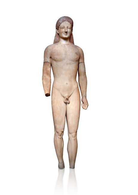 Parian marble Ancient Greek Archaic statue of a kouros, found in Merenda, Attica, Circa 540-530 BC, Athens National Archaeological Museum. Cat no 4890. Against white.<br /> <br /> This funerary statue was found in the same pit as Phrasikleia cat no 4489. An important Archaic Period sculpture with a lively body rendering and one of the best examples of a kouros statue.