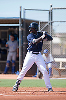 AZL Padres 1 third baseman Carlos Luis (25) at bat during an Arizona League game against the AZL Royals at Peoria Sports Complex on July 4, 2018 in Peoria, Arizona. The AZL Royals defeated the AZL Padres 1 5-4. (Zachary Lucy/Four Seam Images)