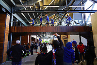 SAN JOSE, CA - MAY 1: Fans wave to players before a game between D.C. United and San Jose Earthquakes at PayPal Park on May 1, 2021 in San Jose, California.