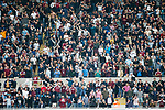 West Ham fans celebrting the equalising goal scored by Aaron Cresswell. Newcastle v West Ham, August 15th 2021. The first game of the season, and the first time fans were allowed into St James Park since the Coronavirus pandemic. 50,673 people watched West Ham come from behind twice to secure a 2-4 win.