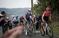 Diego Rosa (ITA/Arkéa-Samsic) & Louis Vervaeke (BEL/Alpecin-Fenix) lead the breakaway group up the steep Côte de Gives<br /> <br /> 85th La Flèche Wallonne 2021 (1.UWT)<br /> 1 day race from Charleroi to the Mur de Huy (BEL): 194km<br /> <br /> ©kramon