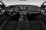 Stock photo of straight dashboard view of 2017 Infiniti QX60 Hybrid 5 Door SUV Dashboard