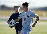 NWA Democrat-Gazette/CHARLIE KAIJO Springdale High School Danny Maldanado (11) dribbles during a soccer game, Friday, March 15, 2019 at Bentonville West in Centerton.